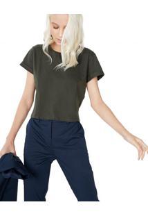 Amaro Feminino T-Shirt Cropped Sustentável, Militar