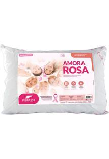 Travesseiro Fibrasca Amora Rosa Em Homenagem Ao Outubro Rosa - Branco- Para Fronhas 50X70Cm