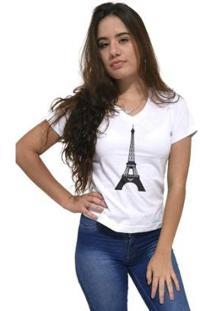 Camiseta Gola V Cellos Eifel Tower Premium Feminina - Feminino-Branco
