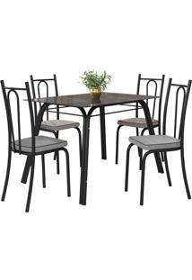 Conjunto De Mesa Lotus C/ 4 Cadeiras Preto E Grafiato Fabone