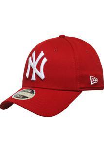 cc5aa596a8c78 Boné New Era Aba Curva Fechado Mlb Ny Yankees Colo - Unissex-Vermelho