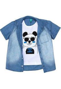 Camisa Infantil Jokenpô Panda Com Giz - Masculino-Azul Claro