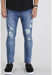 Calça Jeans Masculina Carrot Cropped Destroyed Azul Médio