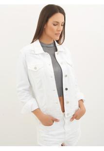 Jaqueta Le Lis Blanc Tradicional Dl Sarja Branco Feminina (Glace, Gg)