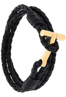 Tom Ford Bracelete De Couro Com Fecho Em T - Preto