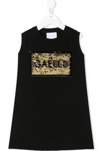 Gaelle Paris Kids Vestido Com Logo De Paetês - Preto