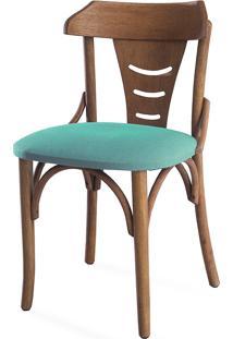 Cadeira De Jantar Estofada Augustine - Stain Jatobá - Tec.950 Turquesa - 45X50,5X83 Cm
