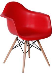 Cadeira Eames Eiffel Com Braço Vermelha Base Madeira