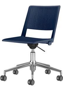 Cadeira Up Assento Azul Base Rodizio Piramidal Em Aluminio - 54312 - Sun House