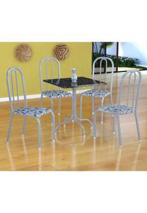 Conjunto De Mesa Malaga Com 4 Cadeiras Madri Branco Prata E Branco Floral