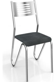 Cadeira Nápoles 2 Peças Crome Preto Linho Cinza