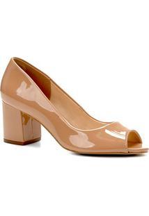 Peep Toe Shoestock Salto Grosso Verniz - Feminino-Nude