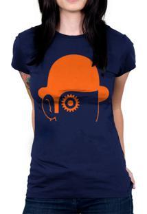 Camiseta Baby Look Hshop Laranja Mecãnica Azul