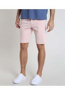 Bermuda De Sarja Masculina Slim Com Bolsos Rosa Claro