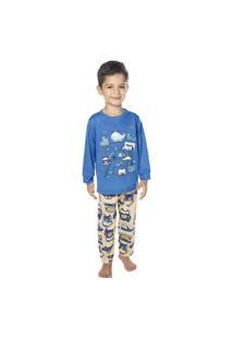 Pijama Cidade Meia Malha Moletinho Azul Have Fun 3 Azul.