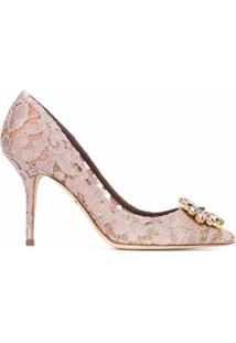 Dolce & Gabbana Sapato De Couro Com Renda - Rosa