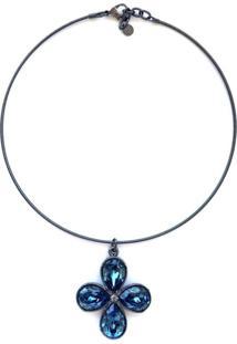 Colar Armazém Rr Bijoux Cristal Swarovski Flor Azul