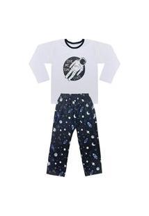 Pijama Juvenil Look Jeans Space Longo Preto