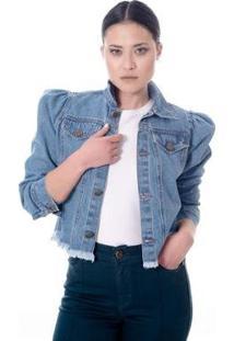 Jaqueta Jeans Manga Bufante Feminina - Feminino-Azul Claro