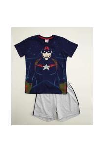 Pijama Infantil Estampa Capitão América Marvel Tam 4 A 10