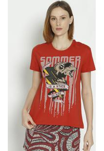 "Camiseta ""Is A State Of Mind""- Vermelha & Rosa- Sommsommer"