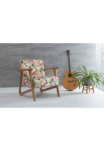 Poltrona Para Sala Lis Verniz Amendoa Tec.S1860 Floral 72X81X81 Cm