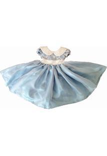 Vestido Infantil Com Gola Em Perolas Liminha Doce Azul-Claro