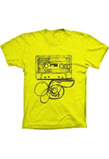 Camiseta Baby Look Lu Geek Fita K7 Amarelo