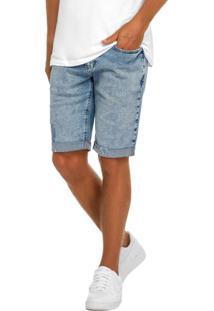 Bermuda Azul Claro Slim Jeans Masculina