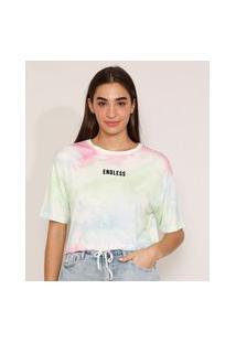 "Camiseta Cropped Ampla Estampada Tie Dye ""Endless"" Flocada Manga Curta Decote Redondo Multicor"