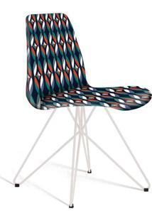 Cadeira De Jantar Eames Butterfly Branca E Azul Estampada