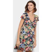 21817652e Vestido Lily Fashion Evasê Curto Floral Decote Nó - Feminino-Azul