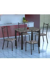 Conjunto De Mesa Gênova Com 4 Cadeiras Lisboa Preto Prata E Branco Floral
