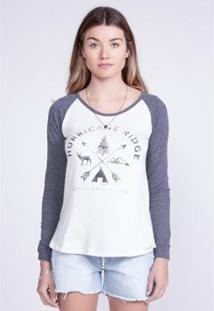 Camiseta O'Neill Manga Longa Estampada Hurricane Feminina - Feminino-Cinza