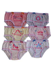 Kit 6 Calcinhas Ellie Infantil Estampa Princesa