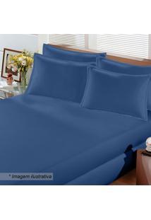 Lençol Image Rolinho De Solteiro Em Malha- Azul Marinho