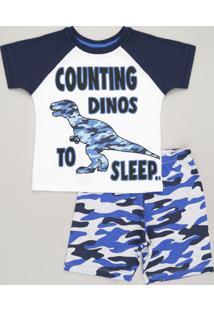 """Pijama Infantil Dinossauro """"Counting Dinos To Sleep"""" Manga Curta Gola Careca Em Algodão + Sustentável Off White"""