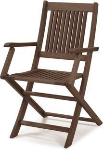 Cadeira Dobravel Primavera Com Bracos Stain Nogueira- 34809 - Sun House