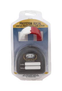 Protetor Bucal Com Estojo Punch Dual Color 440 - Adulto - Branco/Vermelho