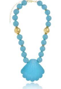 Colar Le Diamond Concha Turquesa - Azul - Feminino - Dafiti