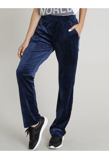 Calça Feminina Esportiva Ace Básica Em Plush Com Bolsos Azul Marinho