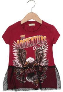 Camiseta Colcci Fun Menina Vinho