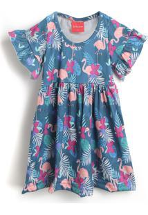 Vestido Tricae Flamingo Azul