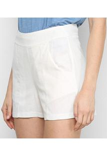 Short Mercatto Liso Feminino - Feminino-Off White