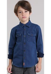 Camisa Texturizada Azul Escuro