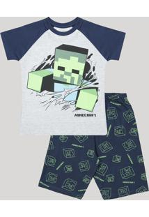 Pijama Infantil Minecraft Raglan Manga Curta Cinza Mescla
