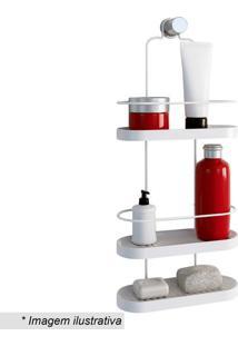 Porta Shampoo Triplo Wave- Branco- 57,5X25X10Cm-Metaltru