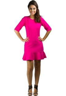 Vestido Banna Hanna Microgorgurinho Vazado Pink - Feminino