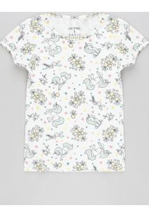 Blusa Infantil Estampada De Unicórnio Manga Curta Decote Redondo Off White