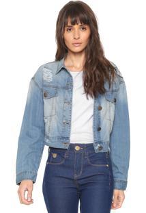 8d6576bce9 ir para a loja. Jaqueta Cropped Jeans Sommer Destroyed Azul